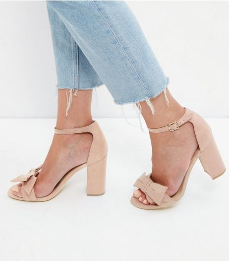 Oatmeal Suedette Ankle Strap Block Heel Sandals | New Look