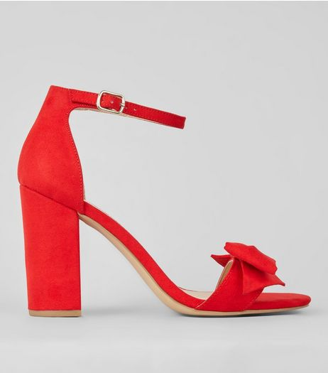 Red Suedette Bow Front Heeled Sandals | New Look