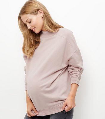 Maternity Shell Pink Funnel Neck Longline Sweater
