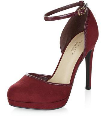 Sandalo  donna Dark Red Comfort Suedette Ankle Strap Heels