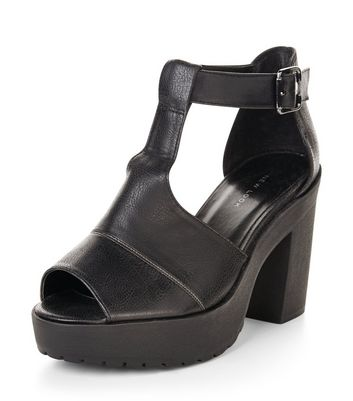 Sandalo  donna Black Cut Out Chunky Block Heels