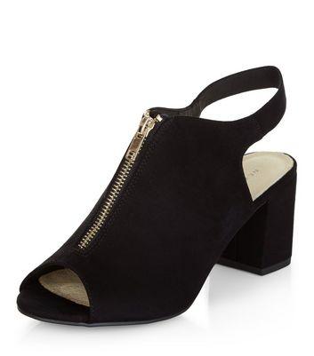Sandalo  donna Black Comfort Zip Front Peep Toe Block Heels