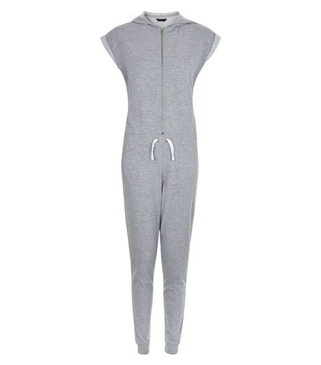 Teens Grey Hooded Jumpsuit | New Look