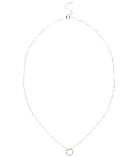Sterling Silver Open Ring Pendant Necklace | New Look