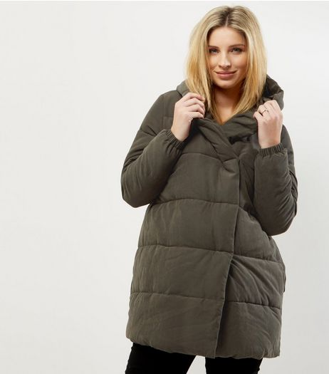 Maternity Khaki Hooded Padded Jacket | New Look