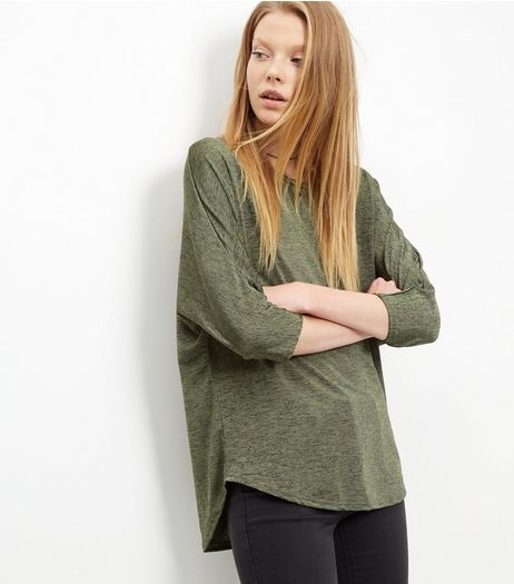 Khaki Marl Oversized 3/4 Sleeve Top | New Look