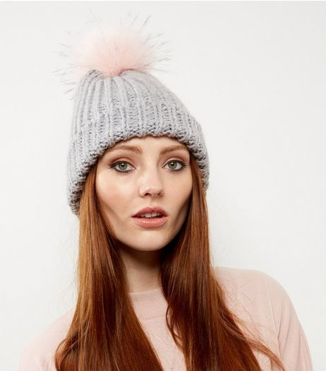 Light Grey Faux Fur Pom Pom Hat | New Look