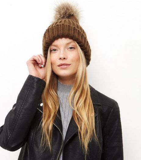 Khaki Faux Fur Pom Pom Beanie Hat  | New Look