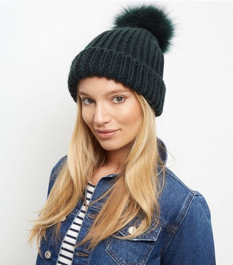 Dark Green Faux Fur Pom Pom Beanie Hat | New Look