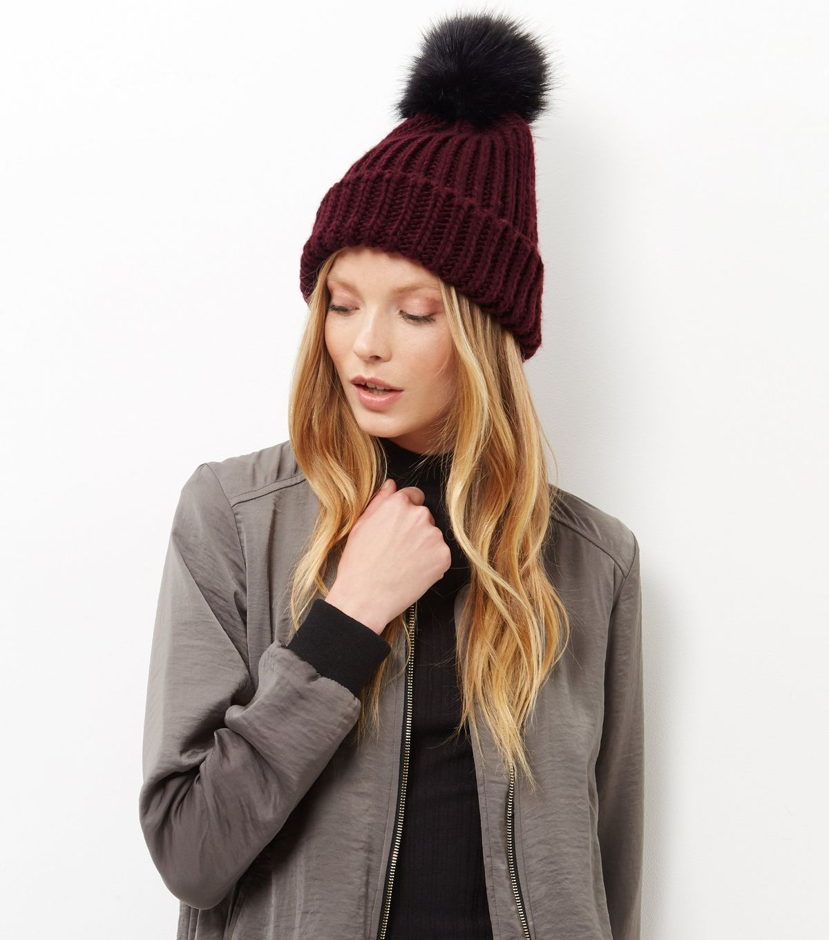 Burgundy Faux Fur Pom Pom Hat  | New Look