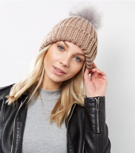 Mid Pink Faux Fur Pom Pom Beanie Hat | New Look