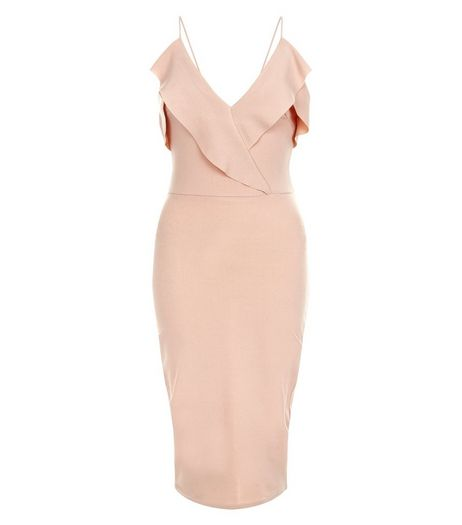 Cameo Rose Shell Pink Frill Wrap Midi Dress | New Look