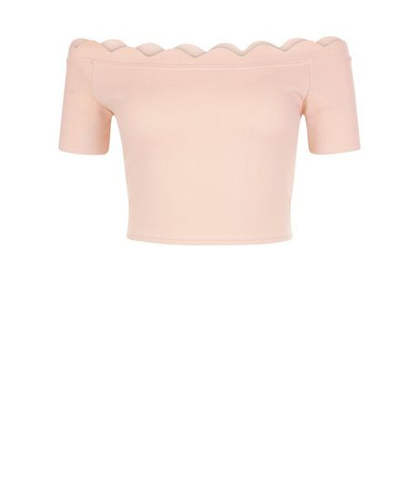 Cameo Rose Shell Pink Scallop Hem Bardot Neck Top  | New Look