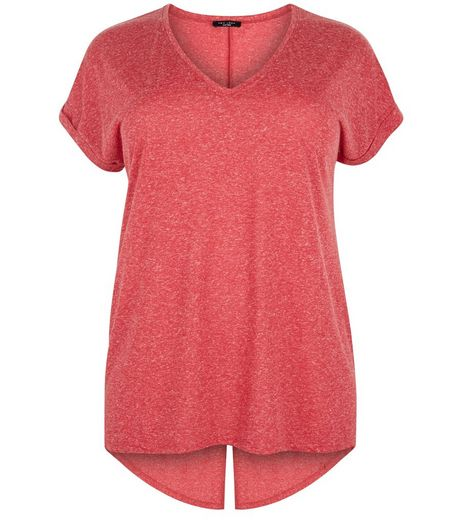 Curves Red Split Back T-shirt | New Look