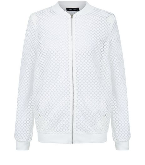 White Mesh Bomber Jacket | New Look
