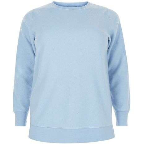 Curves Blue Brushed Sweater | New Look