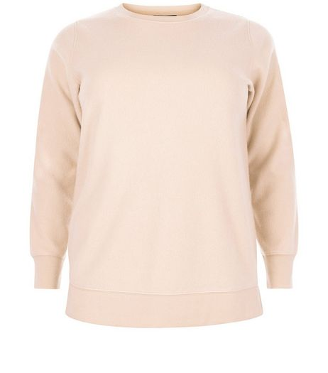 Curves Pink Brushed Sweater | New Look