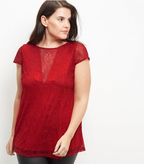 Curves Red Lace V Neck Short Sleeve Top | New Look