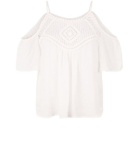 Cameo Rose White Crochet Panel Cold Shoulder Top | New Look