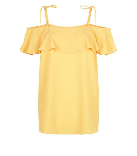 Yellow Ruffle Trim Tie Strap Colour Shoulder Top  | New Look