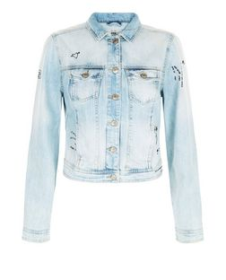 Blue Graffiti Print Denim Jacket | New Look