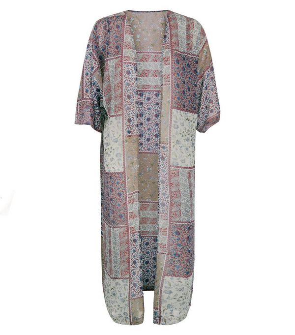 Blue Vanilla Cream Patchwork Print Longline Kimono