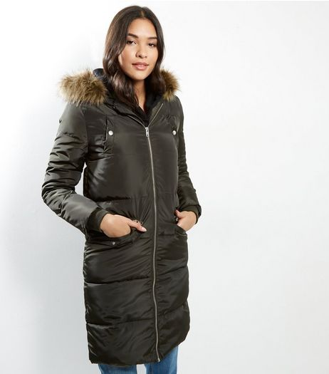Petite Khaki Faux Fur Trim Hooded Padded Coat | New Look