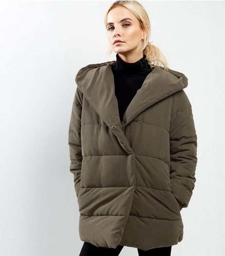 Petite Khaki Padded Hooded Puffer Jacket | New Look
