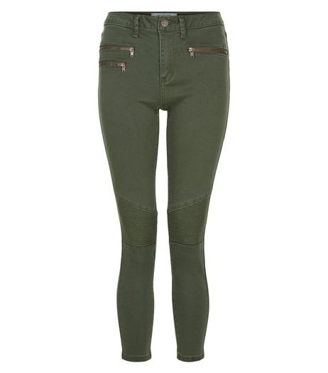 Petite Khaki Super Skinny Biker Zip Jeans | New Look