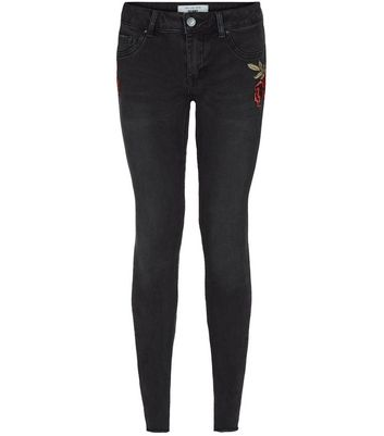 Petite Black Rose Print Skinny Jeans