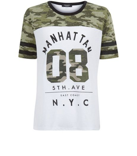 Petite White Camo Colour Block Manhattan Baseball T-Shirt  | New Look