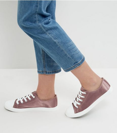 Pink Sateen Lace Up Plimsolls  | New Look