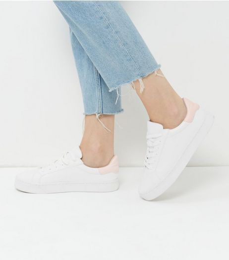 White Contrast Trim Lace Up Plimsolls | New Look