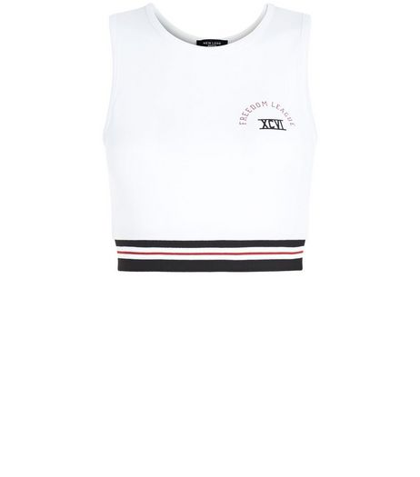 Petite White Stripe Trim Crop Top | New Look