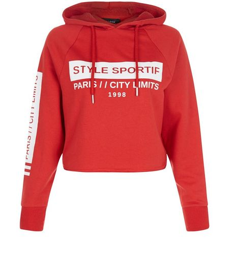 Petite Red Style Sportif Cropped Hoodie  | New Look
