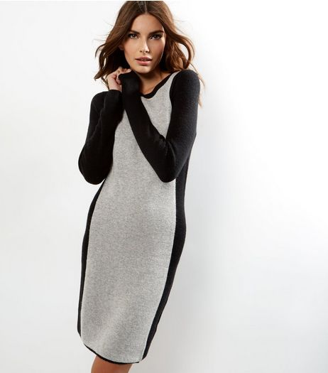Grey Knitted Side Panel Dress | New Look