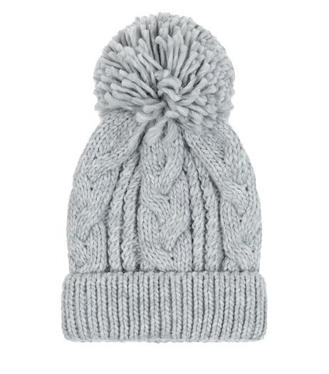 Pale Grey Cable Knit Bobble Beanie Hat  | New Look