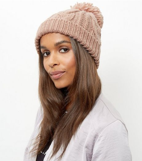 Pink Cable Knit Bobble Beanie Hat | New Look