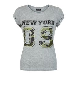Petite Grey Camo New York 09 Print T-Shirt | New Look