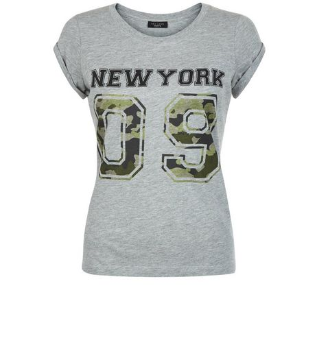 Petite Grey Camo New York 09 T-Shirt | New Look