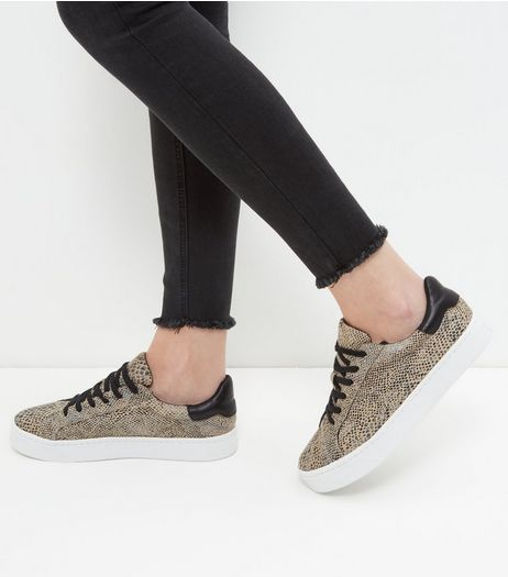 Stone Snakeskin Textured Trainers  | New Look