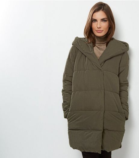 Tall Khaki Hooded Puffer Jacket | New Look