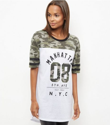 Tall White Camo Colour Block Manhattan Baseball T-Shirt | New Look