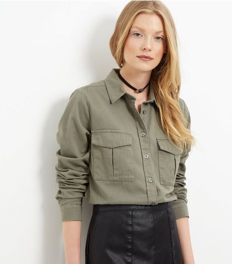 Tall Khaki Double Pocket Shirt | New Look