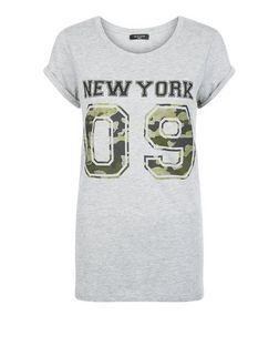 Tall Grey Camo New York 09 Print T-Shirt  | New Look
