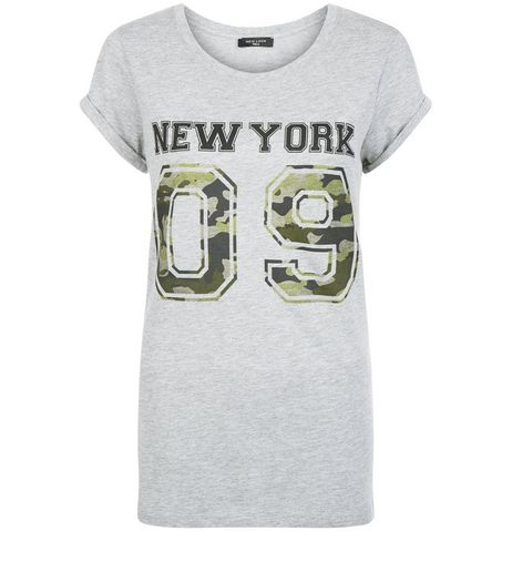 Tall Grey Camo New York 09 T-Shirt  | New Look