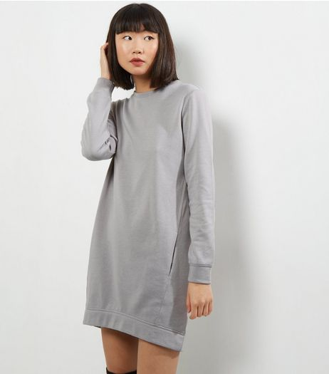 Pale Grey Double Pocket Longline Sweater | New Look