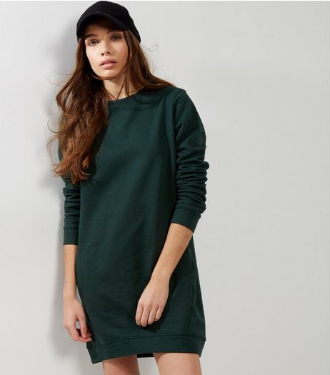 Dark Green Longline Sweater  | New Look