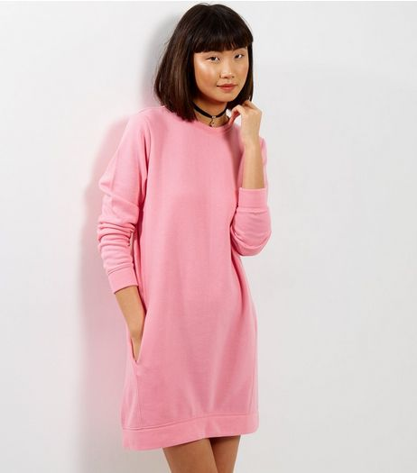 Bright Pink Double Pocket Longline Sweater  | New Look