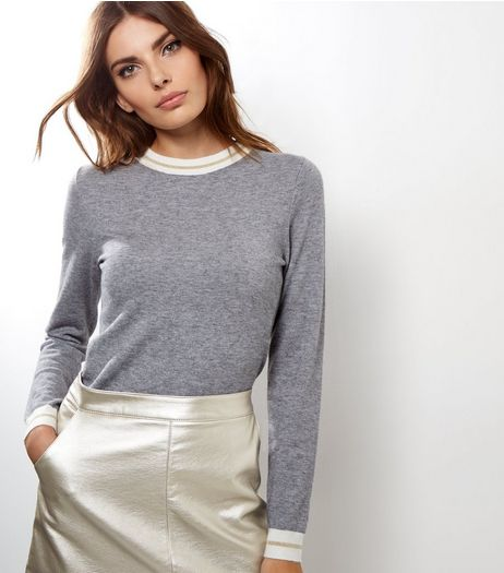 Pale Grey Metallic Stripe Hem Funnel Neck Top  | New Look